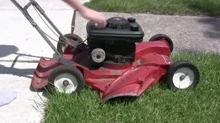 Pull starting mower in Fast Forward