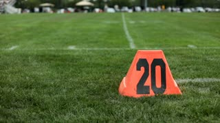 Pylon at 20 yard line of Football Field