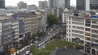 Rainy Frankfurt Germany downtown city traffic seen from above 4k