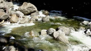 Rapid water flowing through rocks with audio