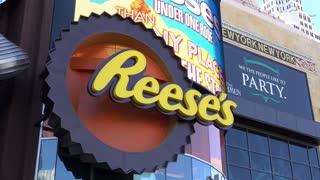Reeses sign at Hershey Choclage World Las Vegas 4k