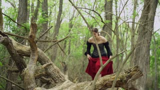 Renaissance girl sneaking around woods 4k