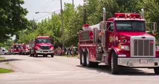 Rescue vehicles in 2014 Fayetteville Firemans parade 4k