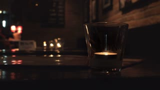 Restaurant with candle lit tables 4k