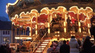 Riders on Carousel at Frankfurt Christmas Market 4k