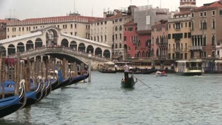 Riding on canal in Venice Italy
