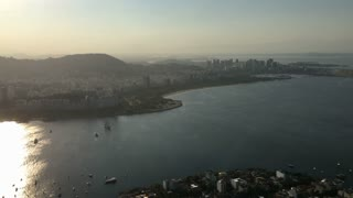 Rio de Janeiro overview of sunset on beach aerial