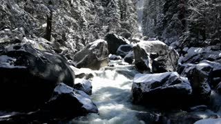 River flowing through snow covered rocks