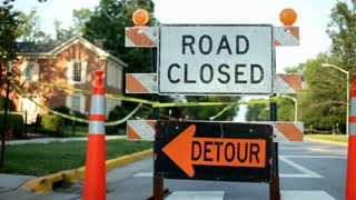 Road closed Detour Sign on Street
