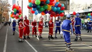 Roller skating clowns in Macy's parade
