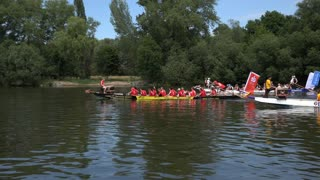 Row boats competing on Main river in Offenbach Germany 4k