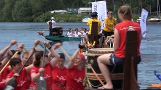 Row team paddling down Main River Frankfurt Germany 4k