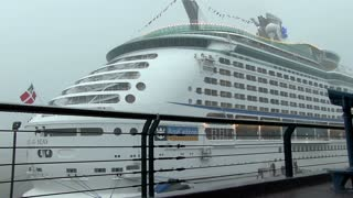Royal Caribbean ship in pouring rain