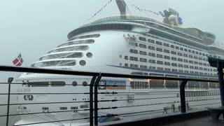 Royal Caribbean ship in pouring rain
