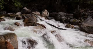 Rushing water down mountain rocks 4k.