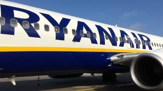 Ryanair aircraft in Cologne-Bonn airport Germany 4k