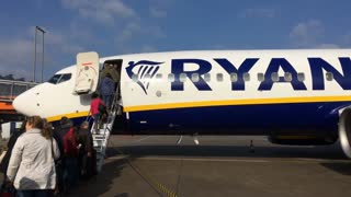 Ryanair flight boarding passengers at Cologne airport in Germany 4k