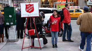 Salvation Army female asking for money