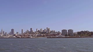 San Francisco City scape from water slow motion.