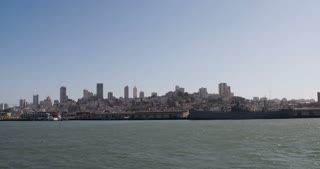 San Francisco City seen from water 4k.