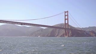 San Francisco Golden Gate Bridge seen from water slow motion