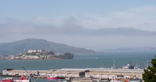 San Francisco Harbor with Alcatraz in background 4k
