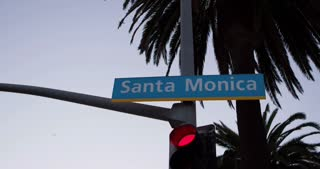 Santa Monica street light with palm trees 4k