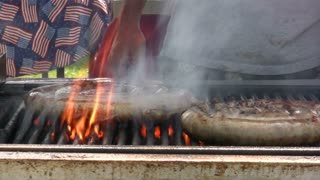 Sausages Cooked on Grill
