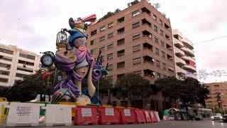 Sculpture for Fallas Holiday celebration in downtown Valencia 4k
