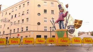 Sculpture with Commedia Masks on streets of Valencia for Fallas 2016 4k