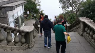 Security guards going down steps at Christ the Redeemer in Rio 4k