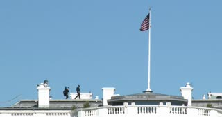 Security walking on roof of White House 4k