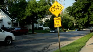 Share the Road Bicycle sign in Neighborhood