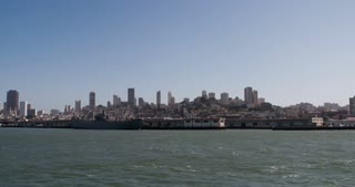 Ship ride out into San Francisco water 4k