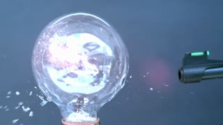 Shooting light bulb with BB gun up close