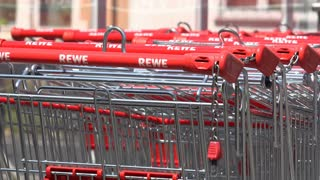 Shopping carts close up at European super market 4k