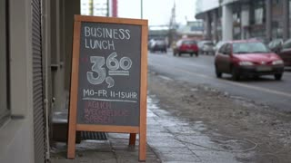 Sign advertising lunch special for nearby business