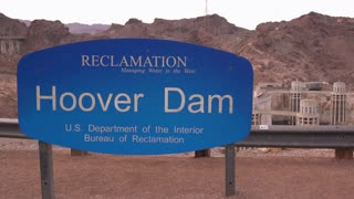Sign for Hoover Dam Bureau of Reclamation establishing shot 4k