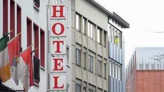 Sign for Hotel in Cologne Germany 4k