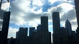 Silhouette of Chicago Skyline with Two Prudential Plaza 4k