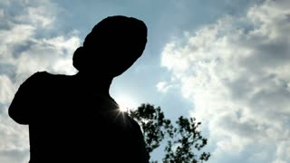 Silhouette of Statue with sky in background