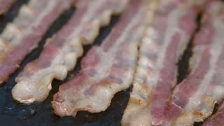 Sizzling Bacon on Griddle