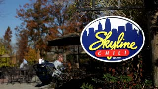 Skyline Chili sign near eating area