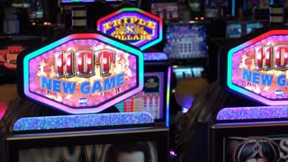 Slot machines on casino floor 4k