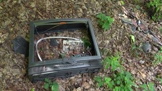 Smashed tube television abandoned in woods 4k