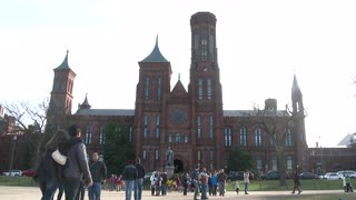 Smithsonian Institution entrance in Washington DC 4k
