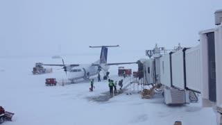 Snow at Dayton Airport Gate C13