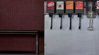 Soda machine fountain drinks at restaurant 4k