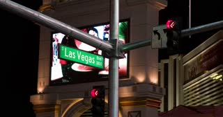 South Las Vegas Blvd sign on strip 4k.