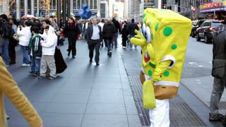 spongebob on new york city street